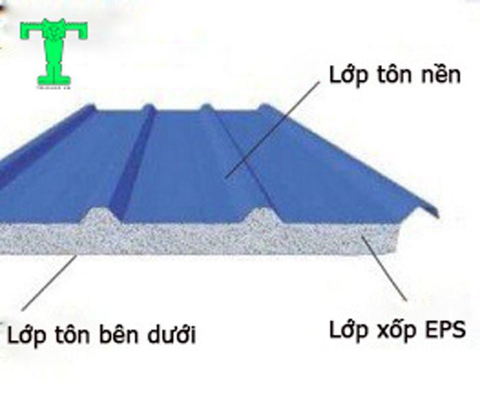 Cấu tạo tôn cách nhiệt EPS 3 lớp bạn có thể nhìn thấy 3 lớp dễ dàng