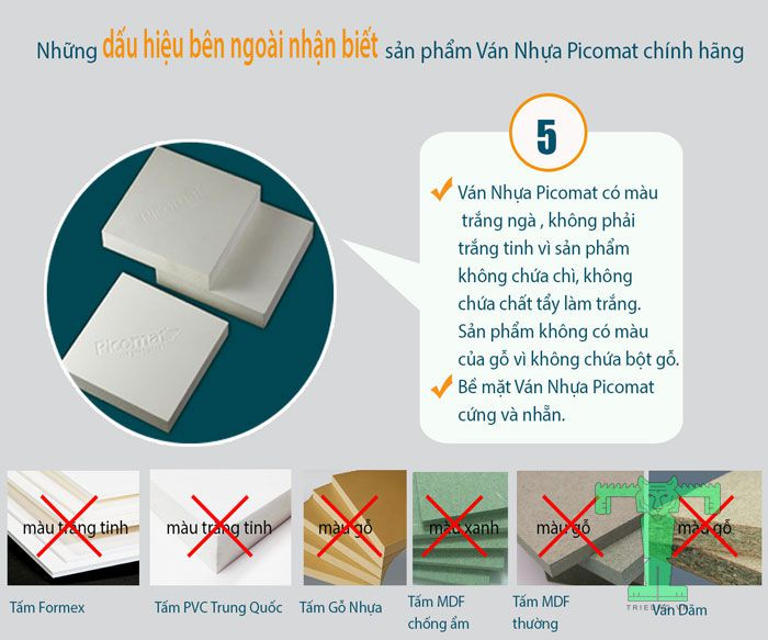 Dấu hiệu nhận biết ván nhựa Picomat tiêu chuẩn chính hãng có thể nhìn thấy mắt thường