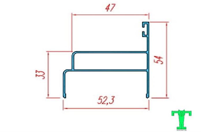 Thanh nhôm U54x53x1.1mm bo khung và bo cánh cửa bản lề Panel dày 50mm