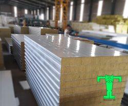 Tấm Panel Rockwool dày 75mm tôn nền dày 0.40mm + Rockwool 75mm 100kg/m3 + tôn 0.40mm