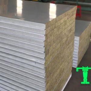 Panel Rockwool chống cháy 3 lớp tôn nền dày 0.40mm + Rockwool 50mm 120kg/m3 + tôn 0.40mm