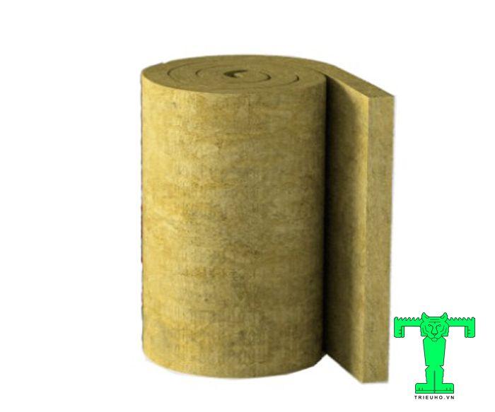 Bông khoáng Rock wool dạng cuộn tỷ trọng 100kg/m3 không có lưới dày 100mm không bị oxy hóa, ẩm mốc, mối mọt.