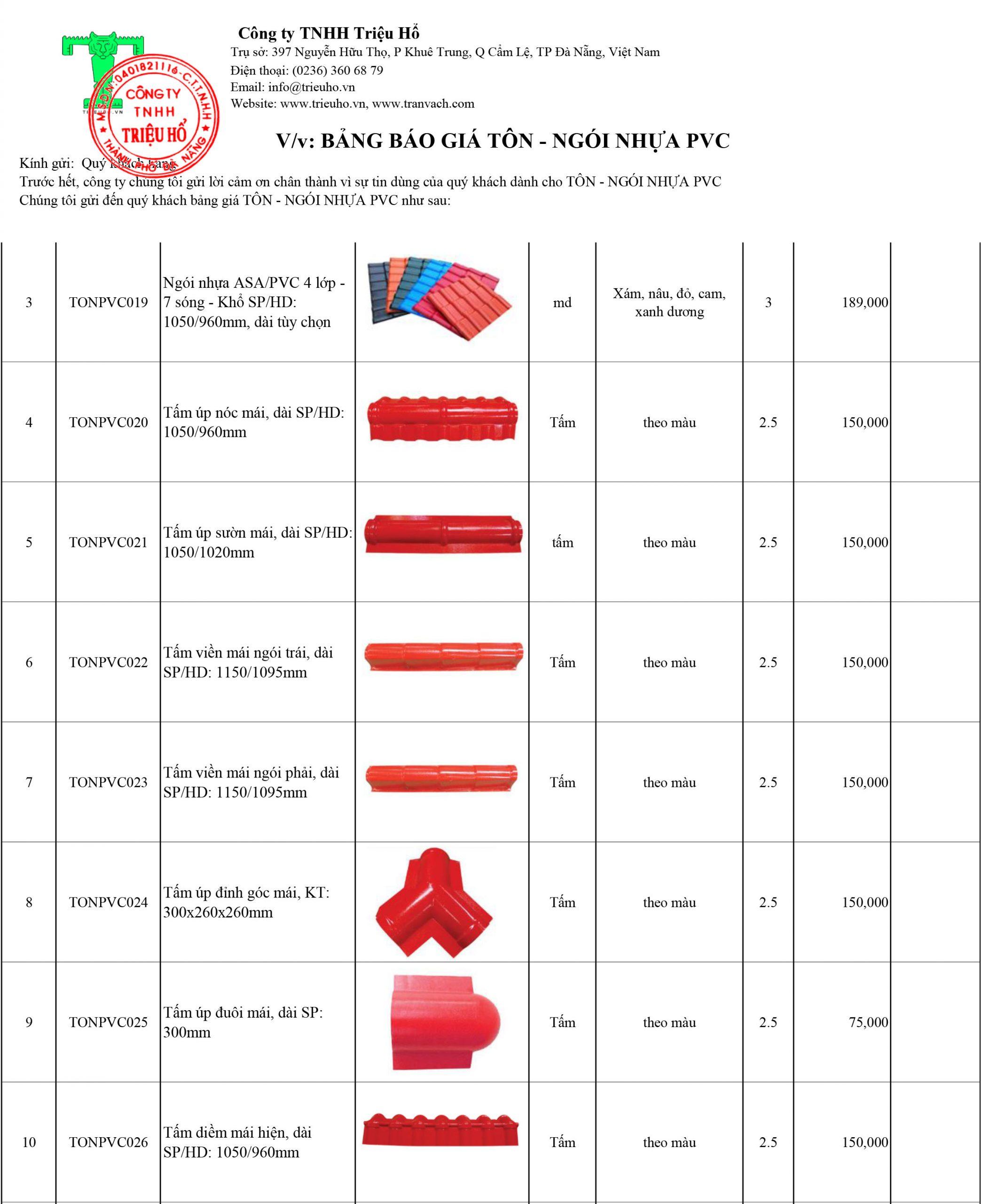 báo giá tôn nhựa PVC và phụ kiện