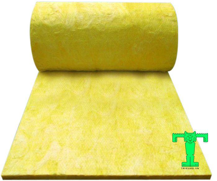 Bông thủy tinh Glass wool dạng cuộn, có độ dài 20m, rộng 1.2m. Nó có tỉ trọng 24kg/m3 dày 25mm