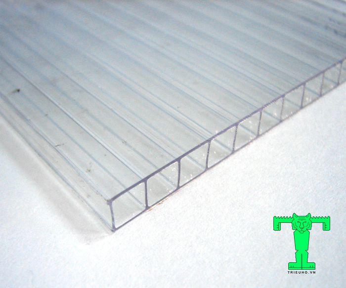 Tấm lấy sáng Polycarbonate dày 10mm rỗng ruột có khả năng xuyên sáng, ngăn chặn tia UV tuyệt vời