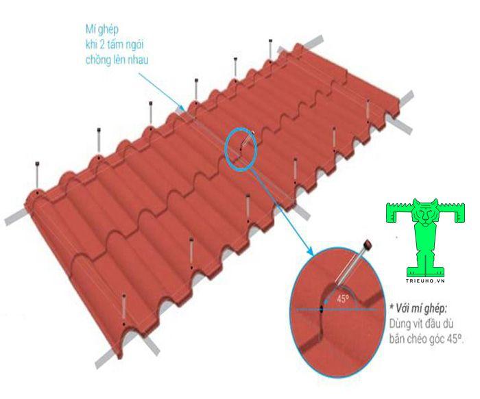 Hướng dẫn lắp đặt ngói thép phủ đá với mỗi biên dạng ngói sẽ cần số lượng vít và cách bắn khác nhau