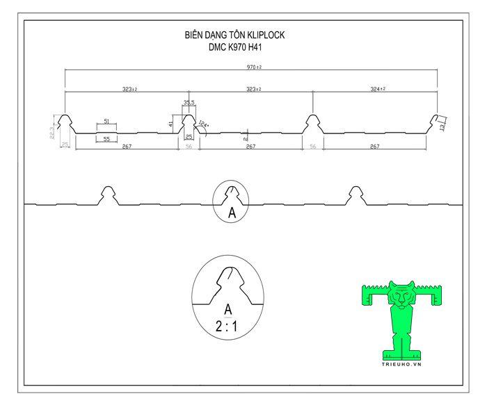 Tôn Kliplock có biên dạng tôn khổ 970mm, sóng cao 41mm