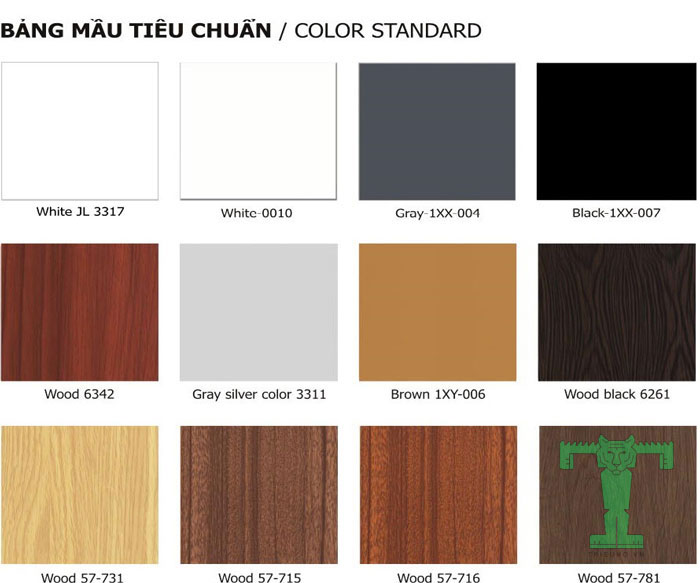 Trần nhôm UShaped 100x30x15mm dày 0.5mm có bảng màu tiêu chuẩn, đẹp và khó bay màu