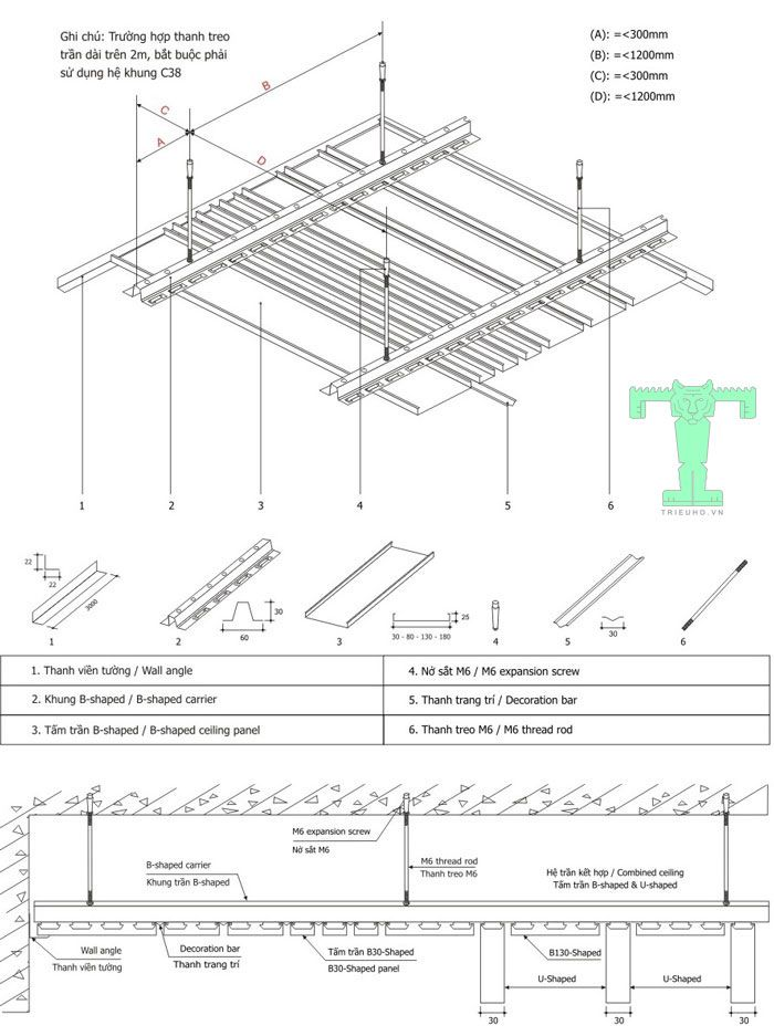Trần nhôm Multi B Shaped có quy cách lắp đặt đơn giản, dễ hiểu, thi công nhanh