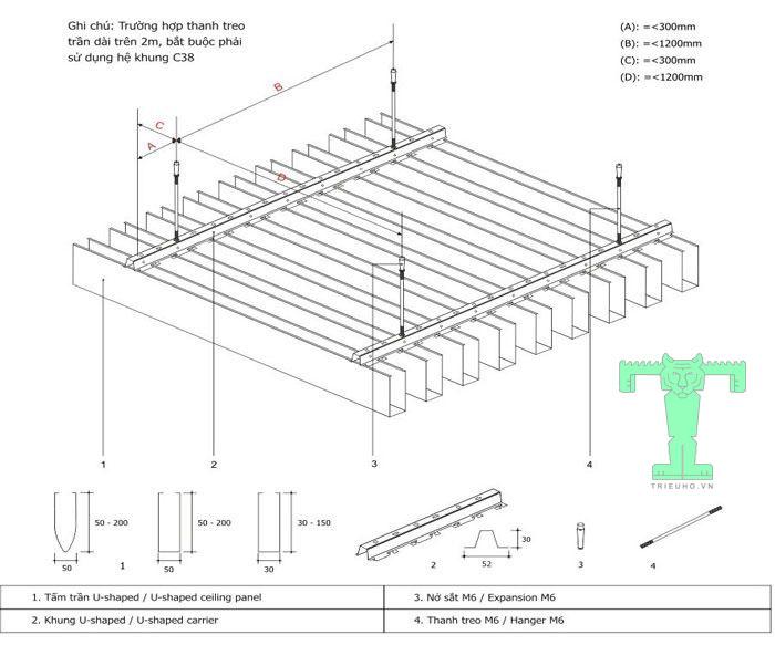 Trần nhôm UShaped 100x30x15mm dày 0.5mm có quy cách lắp đặt đơn giản, nhanh chóng