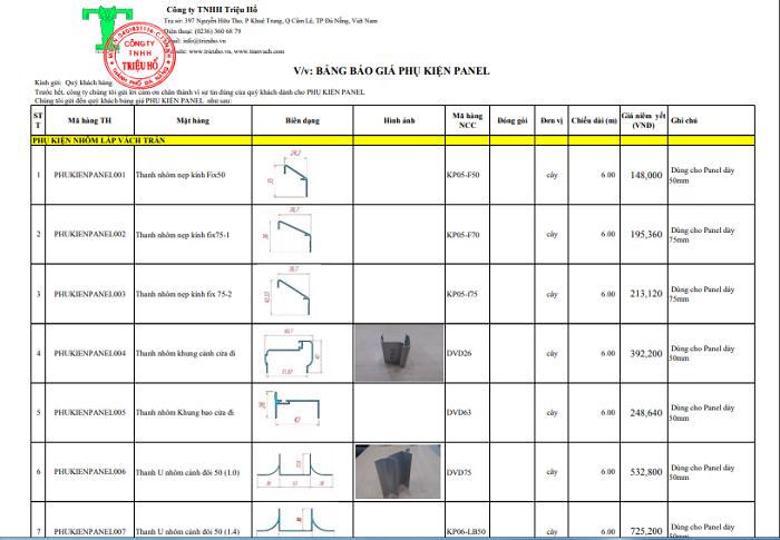 Báo giá chi tiết phụ kiện nhôm panel