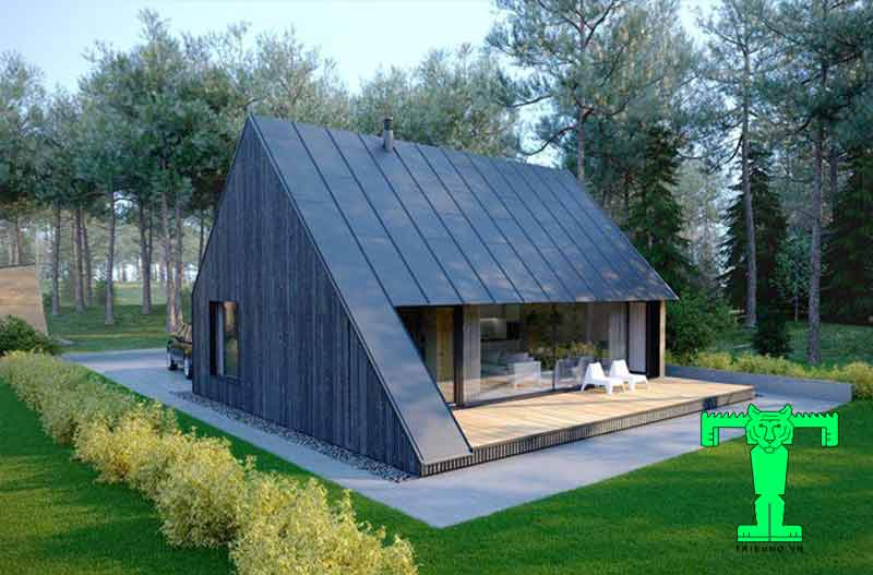 Biệt thự đơn giản bằng khung thép tiền chế và tôn chống nóng
