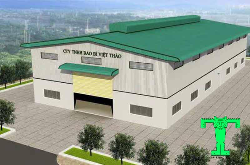 mẫu mái tôn nhà xưởng 500m2