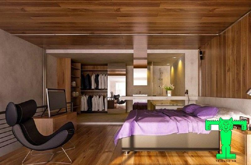 Mẫu 2 - trần nhựa giả gỗ phòng ngủ đep